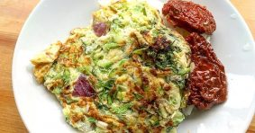 Savory Pancake with Zucchini and Flax Flour
