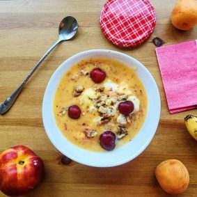 Healthy Elixir: Yogurt Cream with Peaches and Apricots